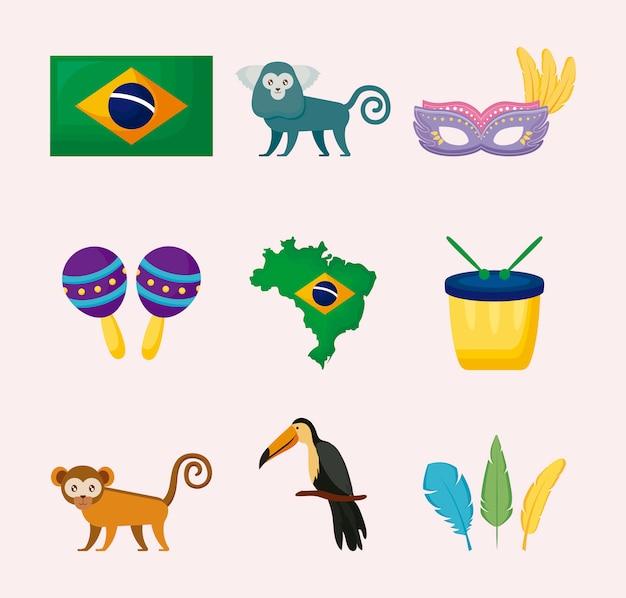 Icônes De La Culture Brésilienne Vecteur Premium