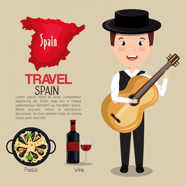 Icônes de la culture espagnole isolé dessin icône Vecteur Premium