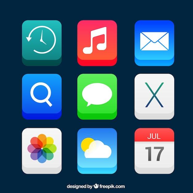 Icônes d'applications dans le style 3d Vecteur gratuit