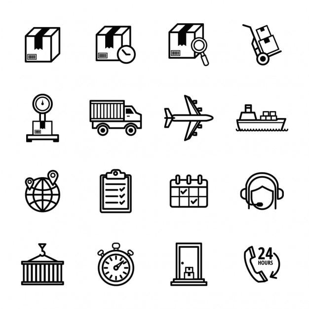 icônes de livraison définies Vecteur gratuit