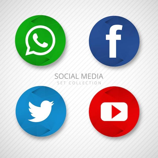 Icônes de médias sociaux modernes définies vector illustration Vecteur gratuit