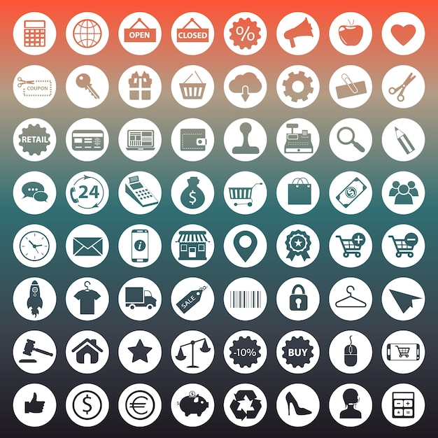 Icônes de shopping et d'e-commerce Vecteur gratuit