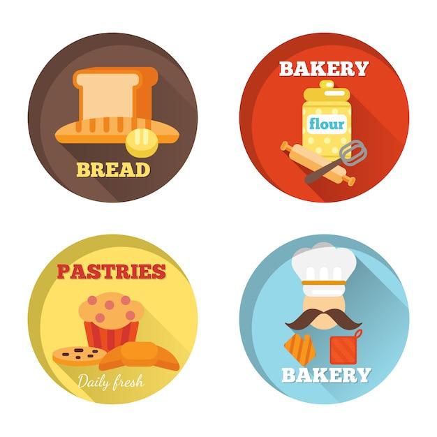 Icônes décoratives de boulangerie Vecteur gratuit