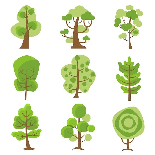 Icônes décoratives cartoon logo tree Vecteur gratuit