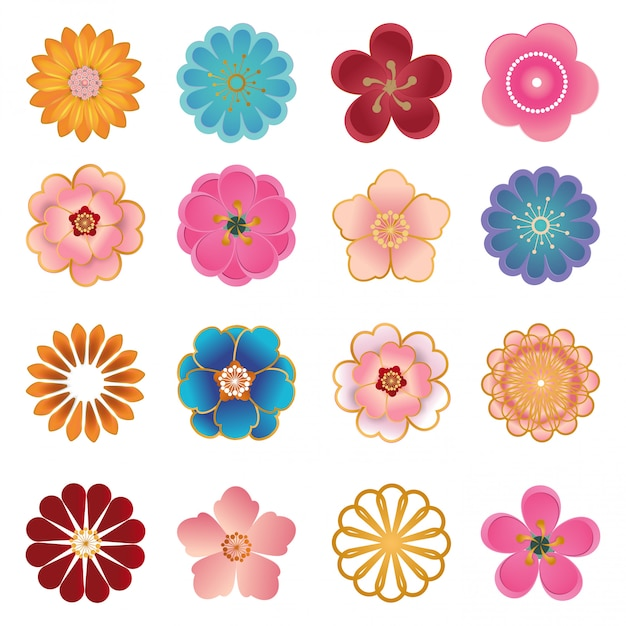 Icônes décoratives chinoises, fleurs en papier 3d moderne style coupé. Vecteur Premium