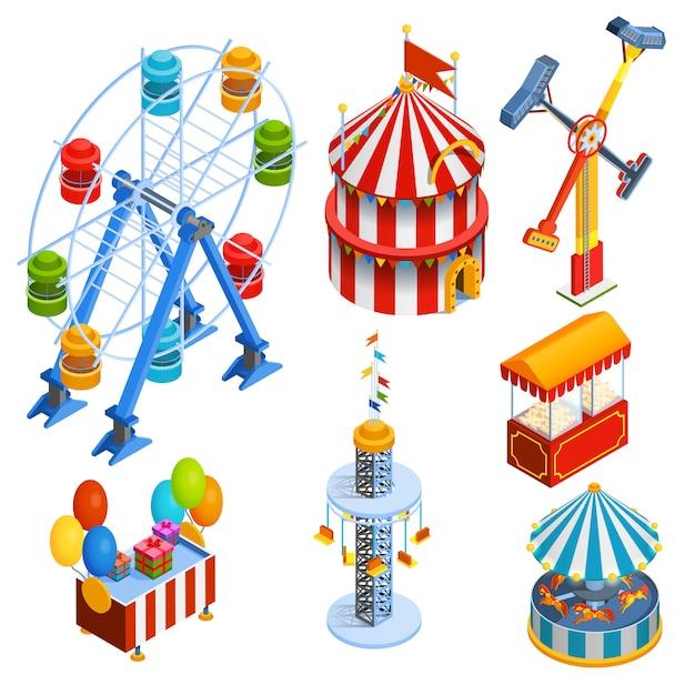 Icônes décoratives isométriques du parc d'attractions Vecteur gratuit