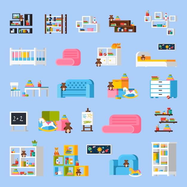 Icônes décoratives plates de meubles de chambre de bébé Vecteur gratuit