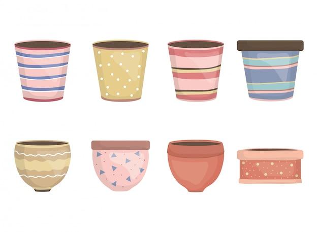 Icônes décoratives de pots de jardin en céramique Vecteur gratuit