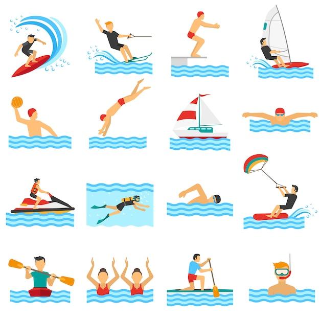 Icônes Décoratives De Sport De L'eau Vecteur gratuit