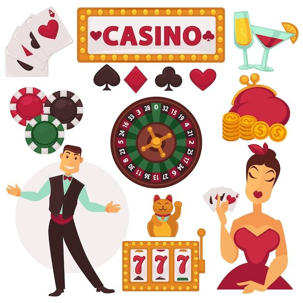 Icônes définies jouer au casino. Vecteur Premium