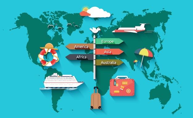 Icônes définies de voyager et de planification des vacances d'été Vecteur Premium