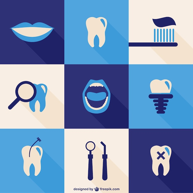 Icônes Dentaires Fixés Vecteur Premium