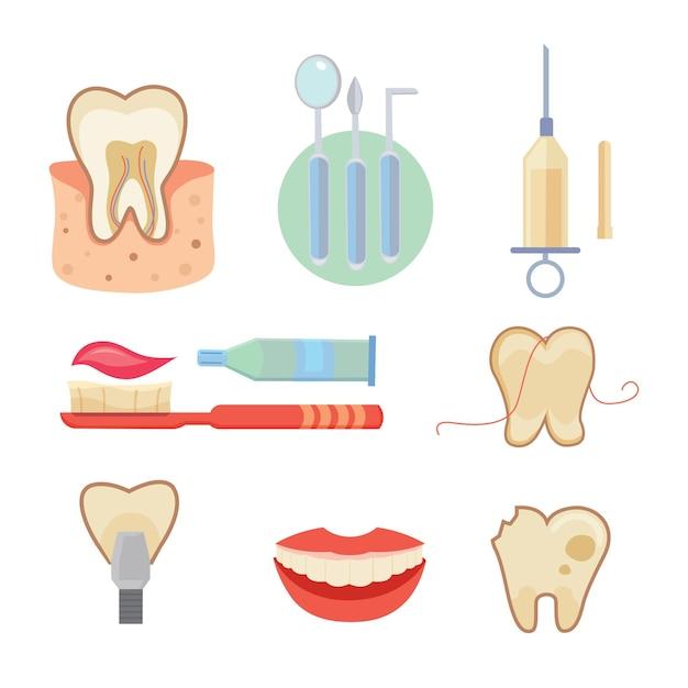 Icônes Dentaires Mis En Style Cartoon Vecteur Premium