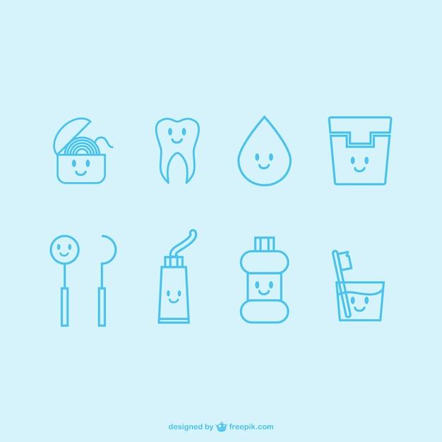 Icônes de dentiste kawaii Vecteur gratuit