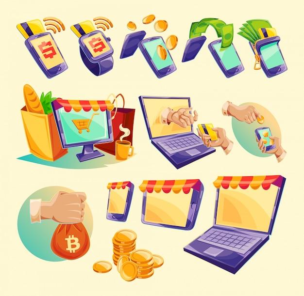 Icônes de dessin animé des dispositifs pour les paiements en ligne Vecteur gratuit