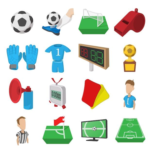 Icônes de dessin animé de football. icônes de football Vecteur Premium