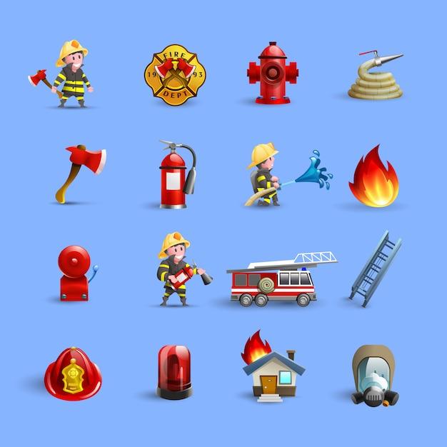 Icônes de dessin animé de pompiers ensemble bleu rouge Vecteur gratuit