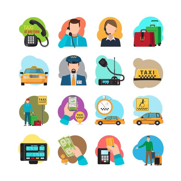 Icônes de dessin animé de taxi Vecteur Premium