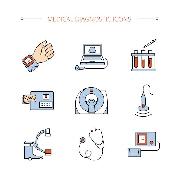Icônes de diagnostic médical définies dans des objets vectoriels isolets. Vecteur Premium