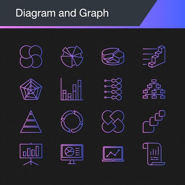 Icônes diagramme et graphique. Vecteur Premium