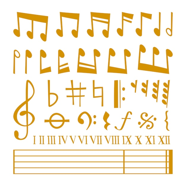 Icônes dorées symboles de mélodie note de musique Vecteur Premium