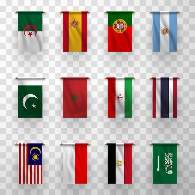 Icônes De Drapeaux Réalistes, Pays Nationaux Symboliques Vecteur Premium
