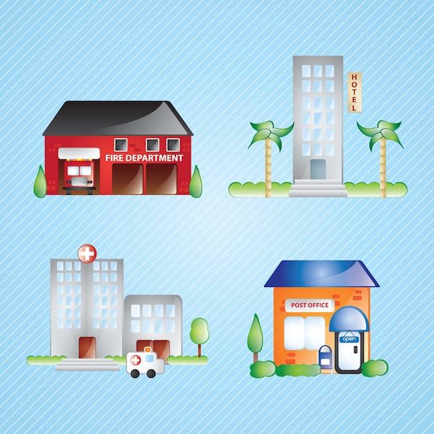 Les icônes du bâtiment définissent différentes maisons (collection 2) sur fond bleu Vecteur Premium