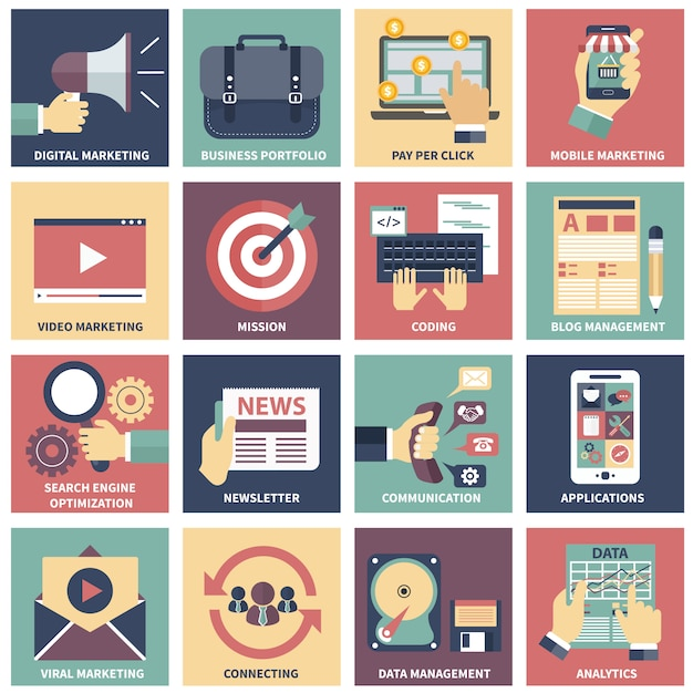 Icônes du marketing numérique, de la publicité vidéo et des médias sociaux Vecteur Premium
