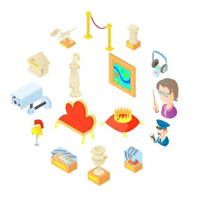 Icônes du musée en style cartoon Vecteur Premium