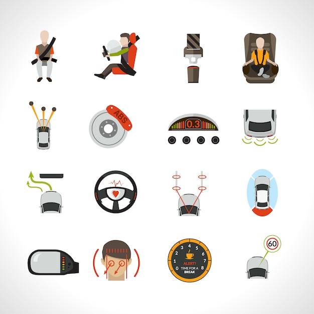 Icônes du système de sécurité automobile Vecteur gratuit