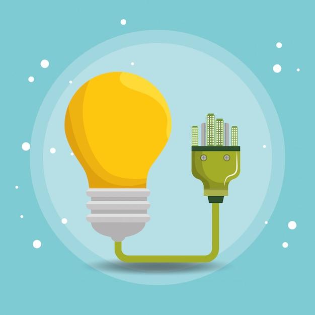 Icônes d'écologie énergie ampoule Vecteur gratuit
