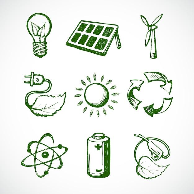 Les Icônes Sur L'écologie, Tiré Par La Main Vecteur gratuit