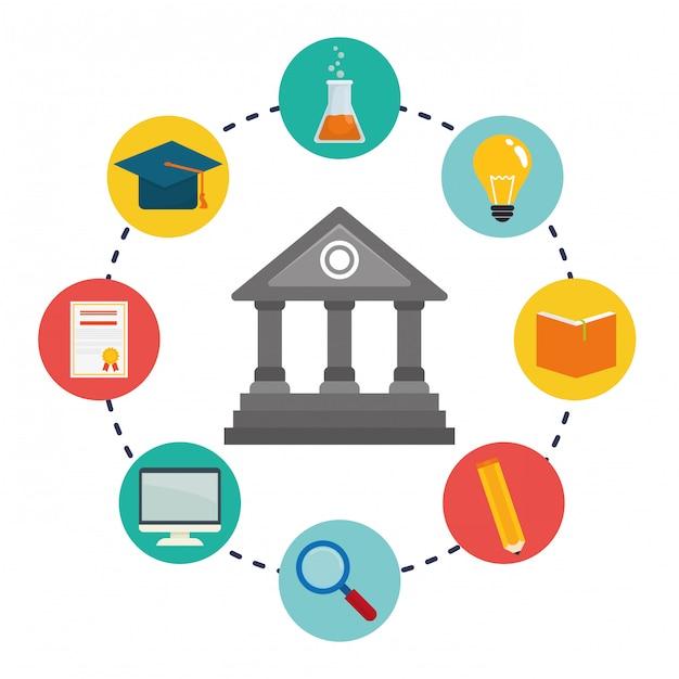 Icônes d'éducation et d'apprentissage en ligne Vecteur Premium