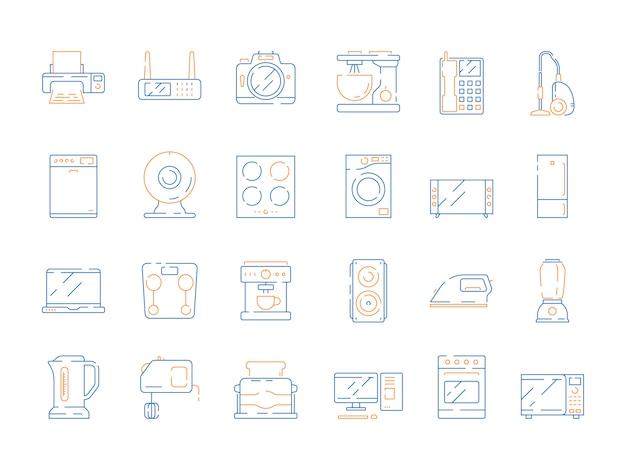 Icônes électriques à La Maison. Appareils Ménagers Modernes équipement Micro-ondes Gadgets Informatiques Réfrigérateur Tv Vecteur Couleur Symboles Minces Vecteur Premium