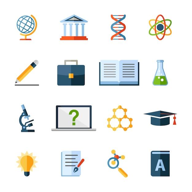 Icônes ou éléments scientifiques et éducatifs Vecteur Premium