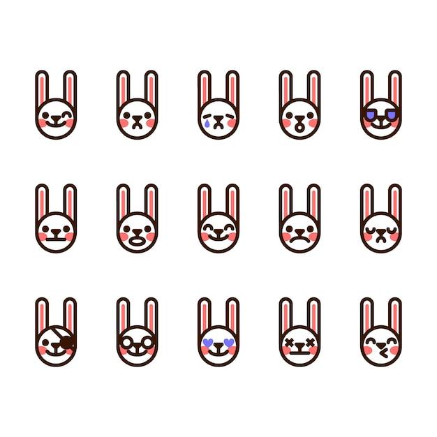 Icônes emojis lapin Vecteur Premium