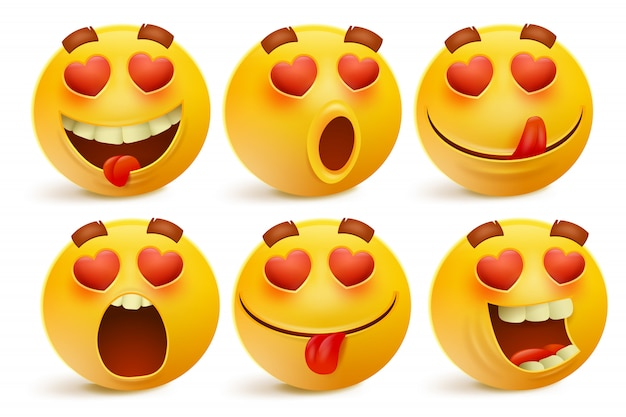 Icônes d'émoticône saint valentin, ensemble d'emoji amour, isolé sur fond blanc Vecteur Premium