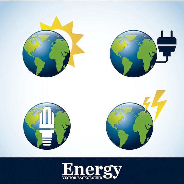 Icônes d'énergie au cours de l'illustration vectorielle fond bleu Vecteur Premium
