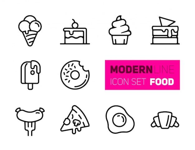 Icônes d'ensemble de la nourriture Vecteur Premium