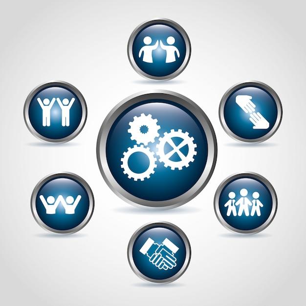 Icônes de l'équipe de travail au cours de l'illustration vectorielle sur fond beige Vecteur Premium