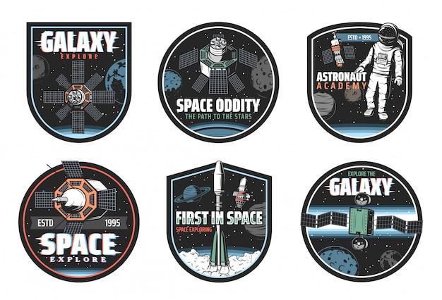 Icônes De L'espace Et De La Galaxie Des Vaisseaux Spatiaux Et Astronaute Vecteur Premium