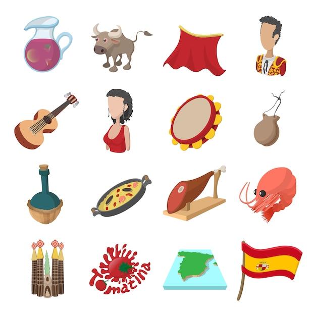 Icônes d'espagne en style cartoon pour le web et les appareils mobiles Vecteur Premium