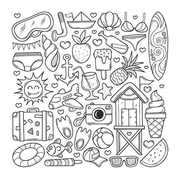 Icones D Ete Coloriage Doodle Dessine A La Main Vecteur Premium