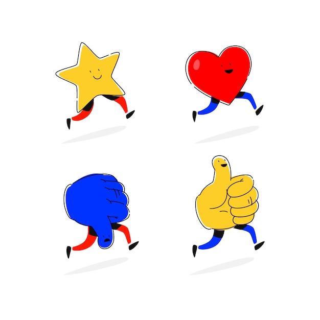Icônes étoiles, coeurs, aime et n'aime pas. vecteur. Vecteur Premium