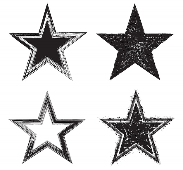 Icônes étoiles grunge Vecteur Premium