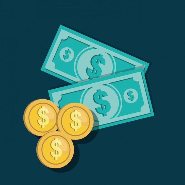 Icônes factures conception de pièces de monnaie Vecteur Premium