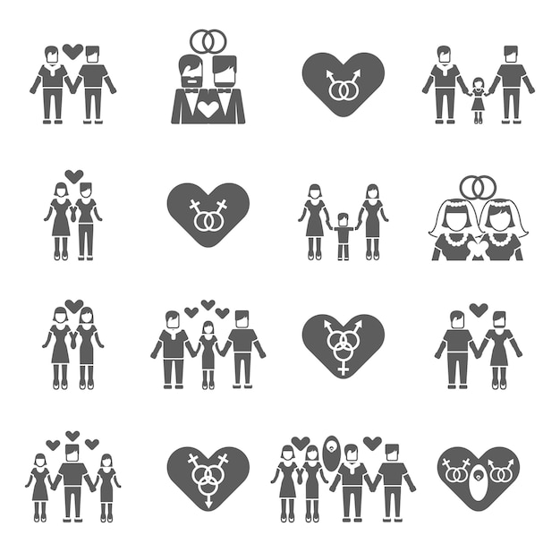 Icônes de famille non traditionnelles définies en noir Vecteur Premium