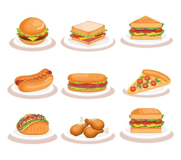 Icônes de fast-food délicieux vector illustration design Vecteur Premium