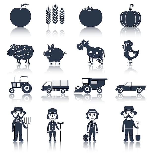 Icônes de ferme définies en noir Vecteur Premium