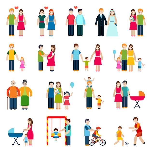 Icônes de figures de famille Vecteur gratuit